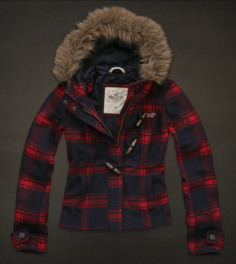 Hollister Womens Plaid Flannel Winter Fur Coat Jacket Size L M | eBay