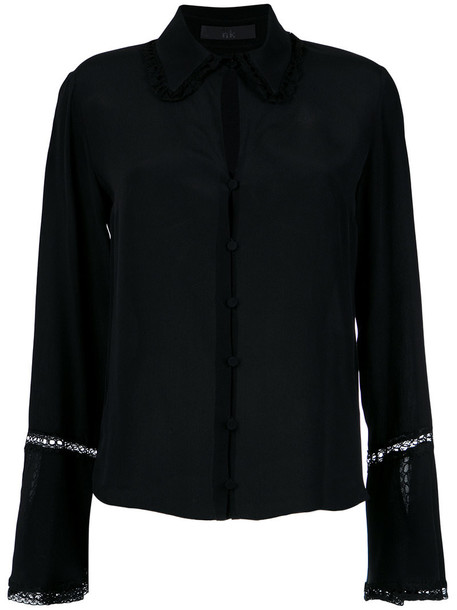 Nk shirt women black silk top