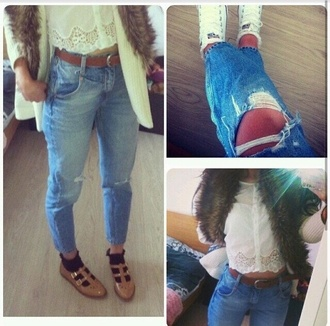top white jeans highwaisted pants lace top converse ripped jeans belt