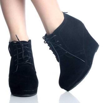 shoes black wedges boots