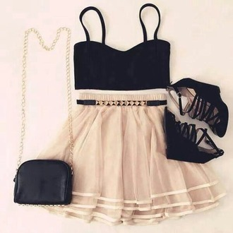 skirt purse bag chain gold heels crop tops top basic bralette chiffon belt chiffon skirt outfit party outfits evening outfits dress girly