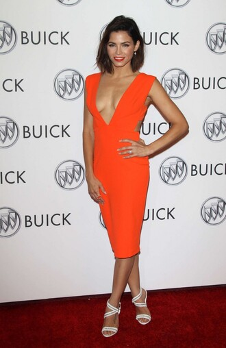 dress sandals plunge v neck bodycon dress bodycon summer dress jenna dewan orange dress