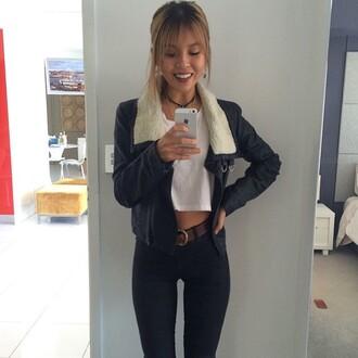 jacket black jacket leather jacket leather fur coat fur trim hood wool wool trench grunge boho
