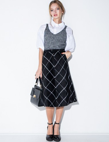 Wool Midi Skirt - Check Midi Skirt