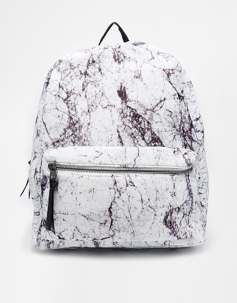 bag marble backpack black and white