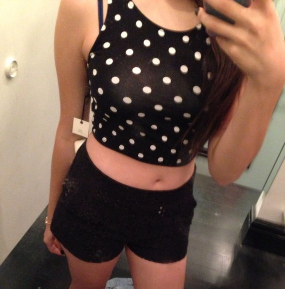 polka dots top crop tops black and white