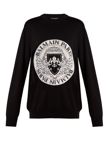 Balmain sweater embroidered knit white black