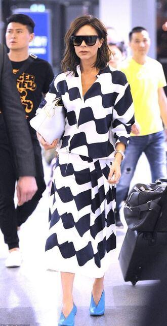 skirt midi skirt top black and white blouse two-piece victoria beckham navy