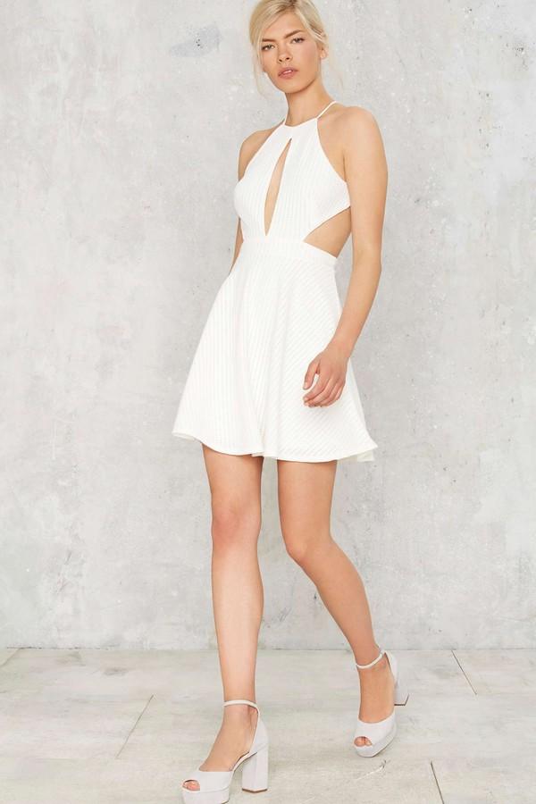 b113fbe5872 dress nastygal cut-out dress short dress little white dress white summer  summer dress