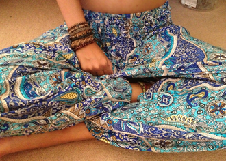 harem pants pants pattern aqua blue blue pants clothes girl's clothes girl summer outfits light blue dark blue gorgeous colour indie gypsy