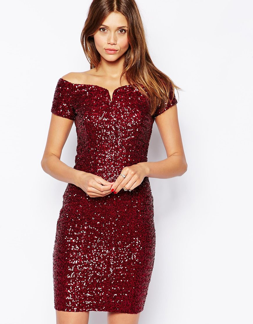 TFNC Bardot Dress In Sequins at asos.com