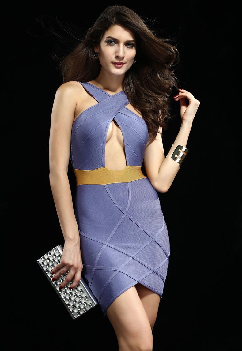 Purple and orange sexy drain back bandage dress h620 $99