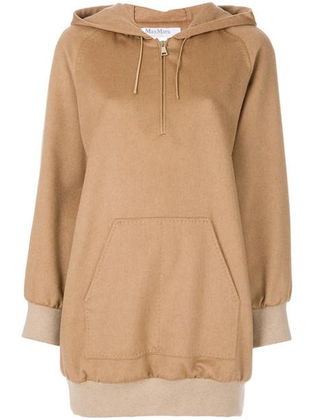 Max Mara - front pocket long hoodie - women - Silk/Polyamide/Spandex/Elastane/Virgin Wool - 44, Brown, Silk/Polyamide/Spandex/Elastane/Virgin Wool