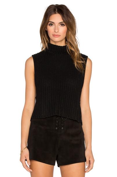 Autumn Cashmere sweater sleeveless cropped black