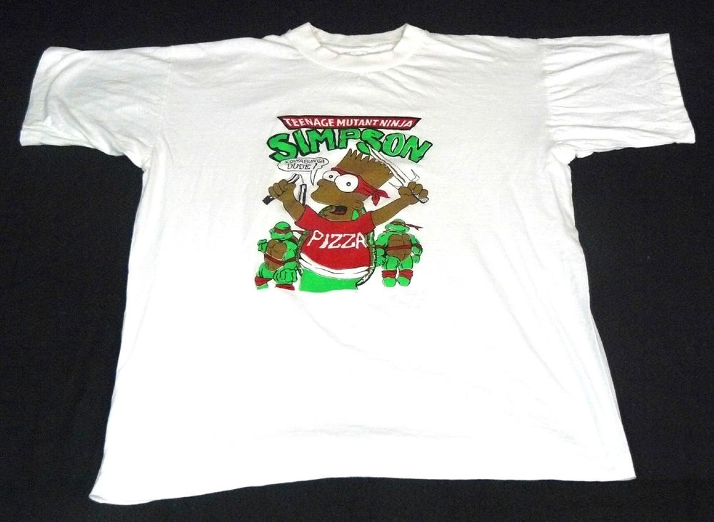 Vintage 90's bart simpson tmnt teenage mutant ninja turtles t shirt original