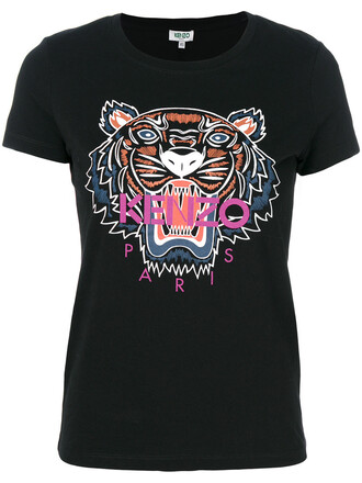 t-shirt shirt women tiger tiger print cotton print black top