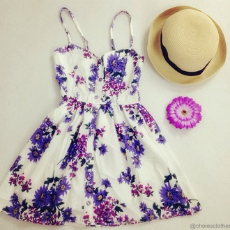 dress floral dress purple flowers sundress cute dress short dress gorgeous beautiful purple flower lovely purple summer dress purple floral dress woman's hat white and purple summer lilac hat girly top skirt purple dress