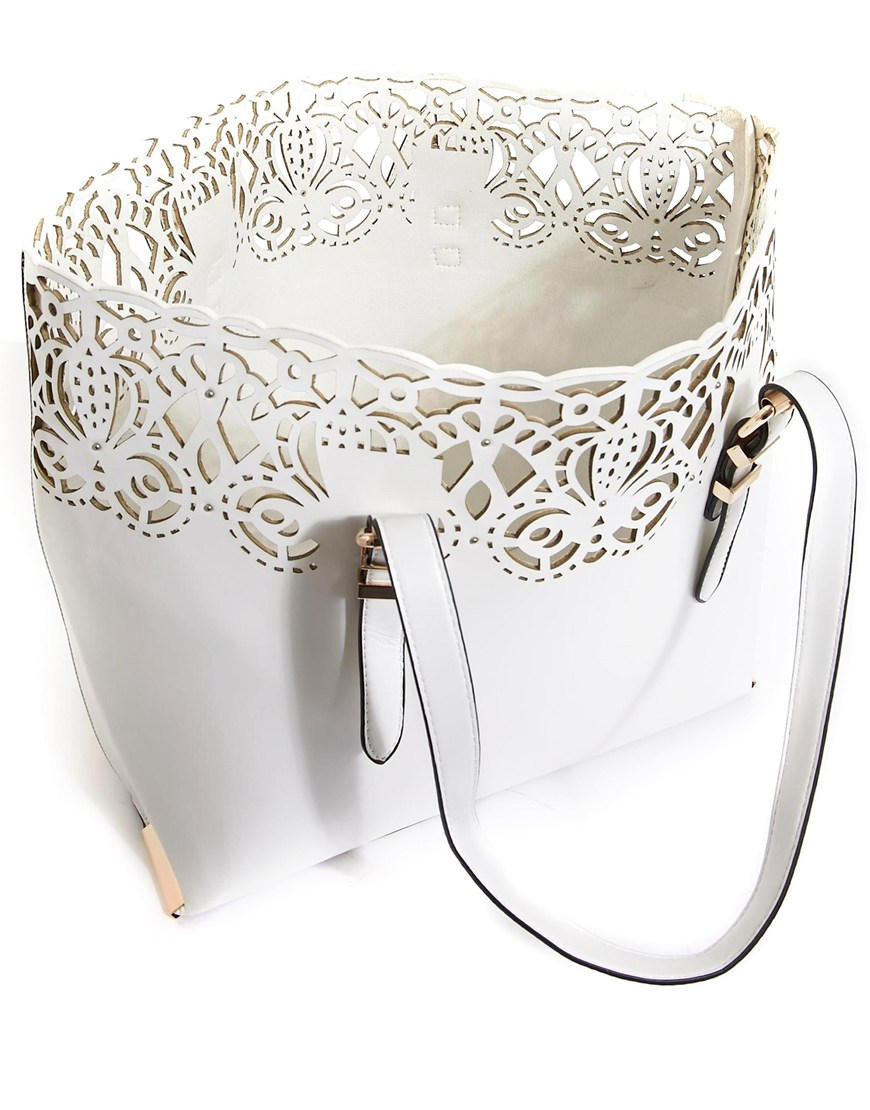 New Look Baroque Lasercut Tote Bag at asos.com