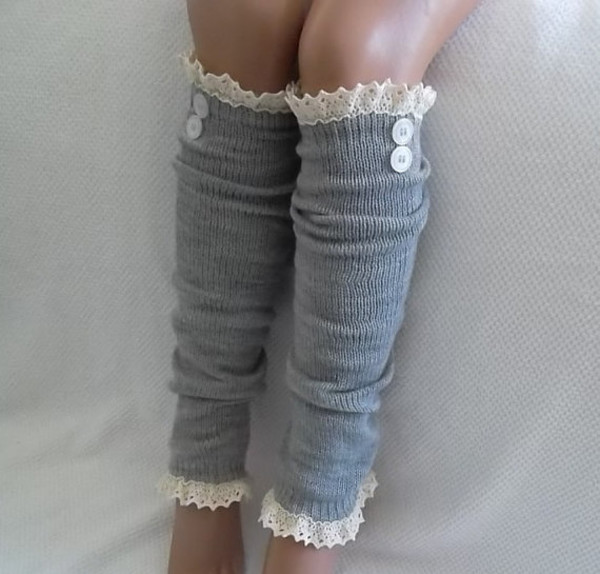socks leg warmers clothes women grey lace and button