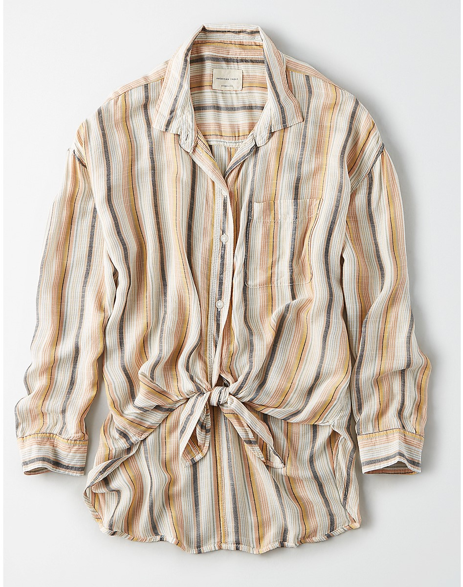 AEO Oversized Striped Button Up Shirt