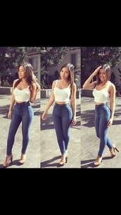 shoes,brown thick heels,thick heel,jeans,high waisted jeans,high waisted denim,high waisted denim jeans,high waisted pants,pants,top,white bustier,bustier,high waisted,shirt,blue dress,party,party outfits,blouse,black pants,black dress,white crop tops