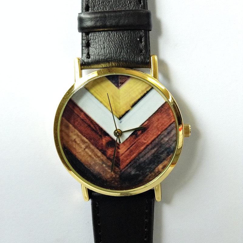 Original Freeforme Wood Chevron Watch, Vintage Style Leather Watch, Women Watches, Unisex Watch, Boyfriend Watch, Black,