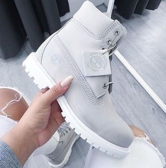 shoes timberlands grey cute