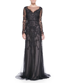 Sleeve embroidered lace gown