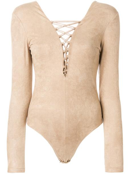 T by Alexander Wang bodysuit style women spandex nude underwear