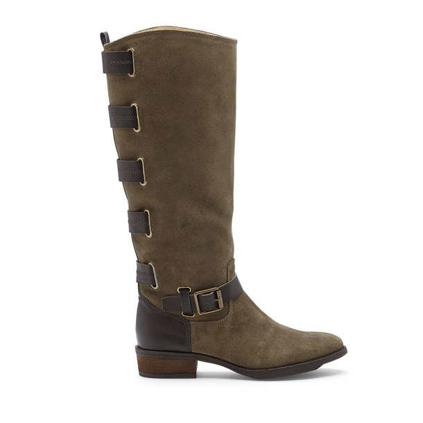 Sole Society Franzie Buckled Tall Boot - Army Fudge-5