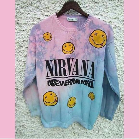 nirvana hipster music punk pastel pastel sweater kawaii kawaii sweater kawaii grunge grunge grunge sweater pullover sweatshirt bands nirvana sweater oversized sweater pink blue ombré sweater ombré tie dye sweater pullover indie band sweater nirvana nevermind