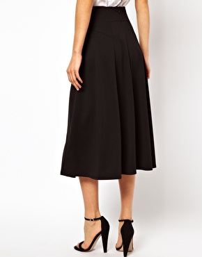 ASOS | ASOS Midi Skirt with Stitch Waist Detail at ASOS