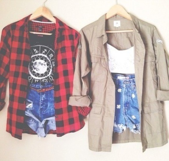 shirt plaid shirt jacket cream flowers shorts girly white cute high waisted, ripped coat