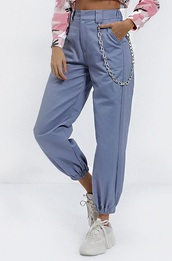 pants,girly,girl,girly wishlist,blue,joggers,joggers pants,trendy,chain pants,cargo pants