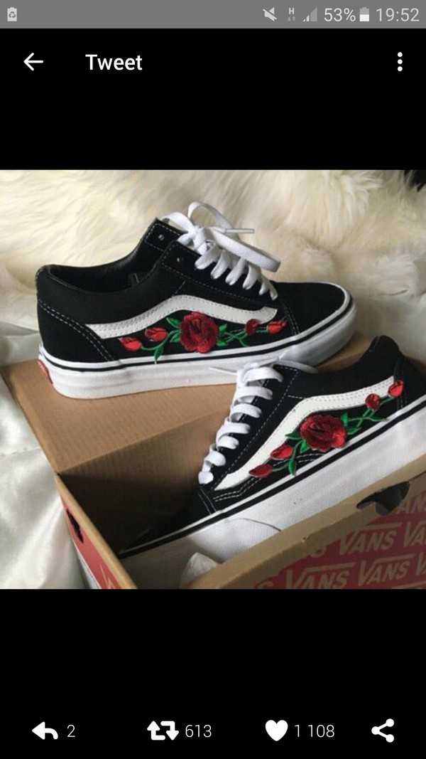 shoes black vans old school embroidered rose wheretoget. Black Bedroom Furniture Sets. Home Design Ideas