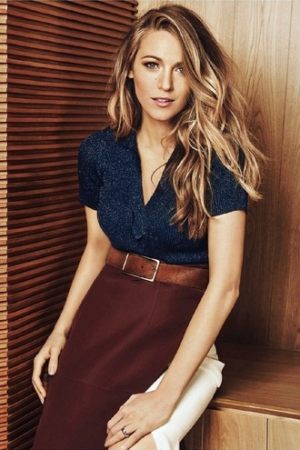 skirt top blouse blake lively wavy hair classy