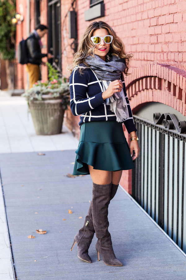 the corporate catwalk blogger boots checkered scarf