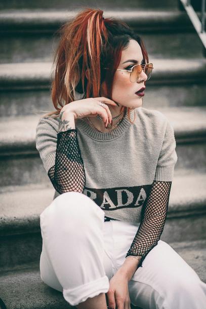 Sweater Tumblr Grey Sweater Mesh Mesh Top See Through See