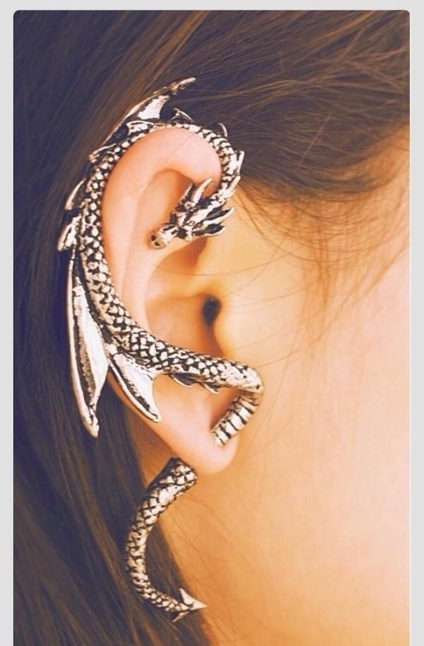 jewels earrings ear cuff dragon