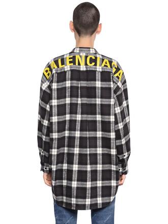 shirt flannel shirt cotton flannel white black top
