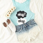 daisy,the fault in our stars,floral,flower crown,headband,denim shorts,distressed denim shorts,white sneakers,tank top,summer outfits,summer,casual,top,blue top,teal,cute,girly,vintage,hippie,urban,boho,shorts,shoes,jewels,hair accessory,shirt,t-shirt,sky blue,crop tops,black/white sneakers,ombre shorts,tfios blue okay? okay.,blouse,blue shirt,john green,baby blue,loose,tfos,demin shorts,dip dyed,white,light blue,tfios shirt,hat,mint green crop top,okay?okay.,augustus waters,hazel grace,hazelandaugustus,blue,denim,flower headband,outfit,tumblr outfit,vans,style,summer shorts,summer top,the fault in our stars blue,tumblr,cool,okay?okay,where to get it? not too expensive,torquioise,turquoise,High waisted shorts,white converse,white and blue gradiant shorts,gradient shorts,cute top,pants,movie quote,pretty,vibrant,cute outfits,skirt,teen girl