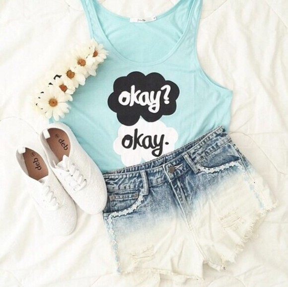 the fault in our stars blue shirt jeans tank top jewels shorts shoes white flower crown t-shirt tumblr tumblr girl okay okay tumblr shorts top flower band shirt tfios thefaultinourstars okayokay tfios shirt style tfios blue okay? okay. fault in our stars quote on it ombre top