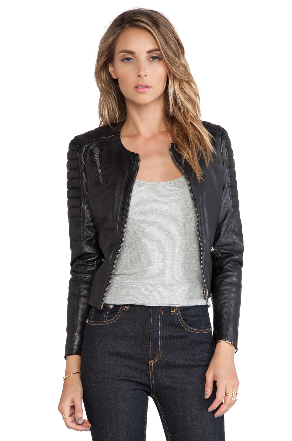 Muubaa tescino collarless biker in black from revolveclothing.com