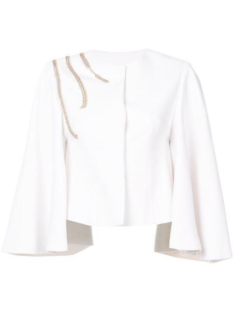 jacket women spandex white silk