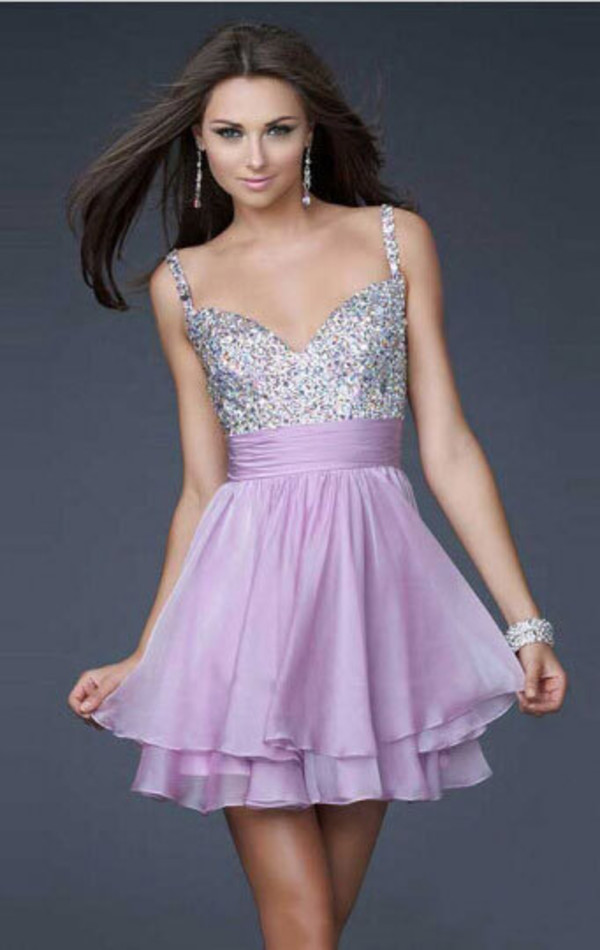 A-line Spaghetti Straps Chiffon Lilac Cocktail Dresses/Short Prom ...