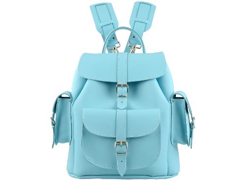 Grafea sky light blue leather backpack