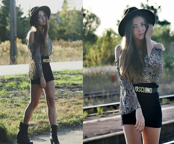 belt hat shirt boots vintage moschino