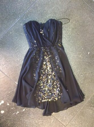 dress navy and gold dress navy and sparkles little black dress gold sequins sweetheart dress new year's eve homecoming dress cocktail dress navy gold sequins gold sequins dress layered chiffon glitter sparkle glitter dress sequin dress sleeveless strapless dress flowy dress bodycon dress short dress strapless black and gold blue prom homecoming short fancy short party dresses