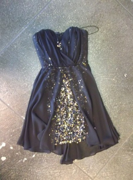 Dress navy and gold dress navy and sparkles little for Glitter new years dresses