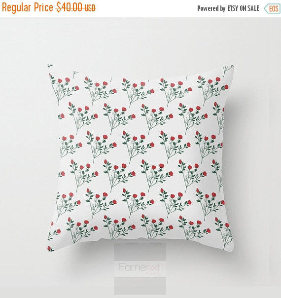 15 Inch Throw Pillow Covers : Flat 15% OFF SALE Throw Pillow Cover, Rose pillow cover, Decorative Pillow Cover, floral pillow ...